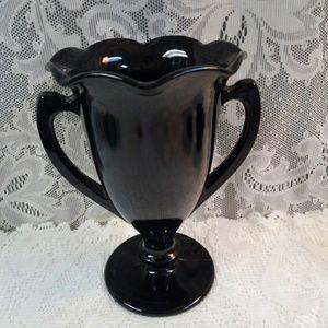 Black Amethyst Glass Loving Cup Vase